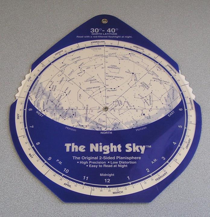 The Night Sky Original Planisphere 30-40 Degree North Star 1992 David Chandler