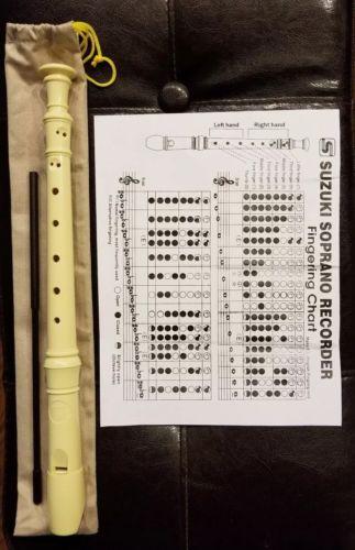 Suzuki Recorder E SRE-300 plastic,  w/ pouch,  cleaning tool,  fingering chart
