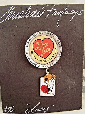 I Love Lucy Lapel Pin Broach 1991 Hand Made