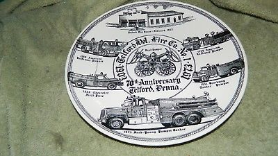 TELFORD PA FIRE COMPANY NO. 1 70th ANNIVERSARY COLLECTOR PLATE 1973 FREE US SHIP