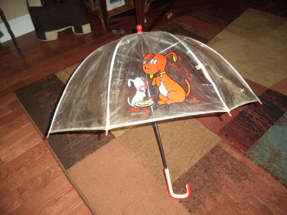 Vintage 1960's 1970's Child Puppy Dog Clear Umbrella Girl Boy Parasol