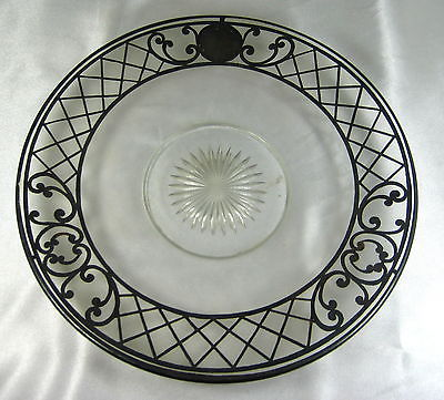 ANTIQUE ELEGANT STERLING SILVER INLAY GLASS LARGE PLATE