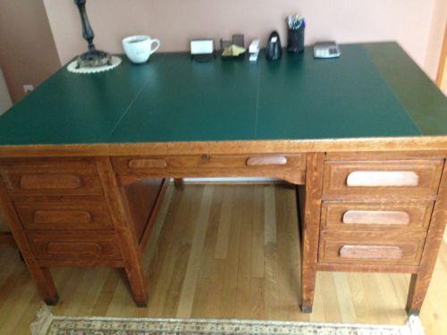 Antique Oak Bankers Desk