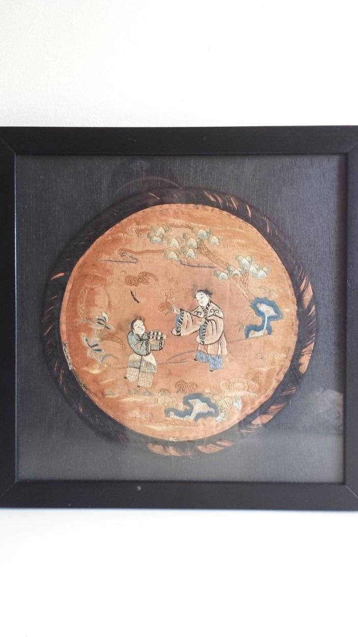 ANTIQUE FRAMED CHINESE SILK EMBROIDERY WALL HANGING