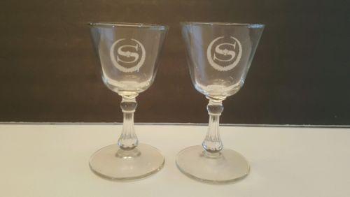 SHERATON HOTEL Barware Glasses  stemmed cocktail glasses w/Old Logo Vintage