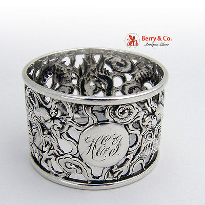 Dragon Napkin Ring Chinese Export 1900 Sterling Silver