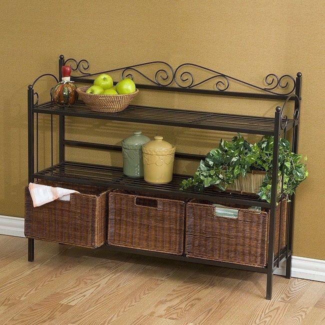 Bakers Rack Shelf Stand Basket Bench Rustic Shelves Celtic Rattan Furniture Gray