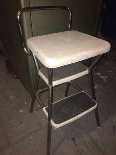 Vtg 70s Chrome Green Cosco Flip Seat Step Stool Chair Mid Century Modern Kitchen