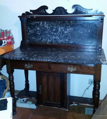 Beautiful Antique WASH STAND Marble Top & Back