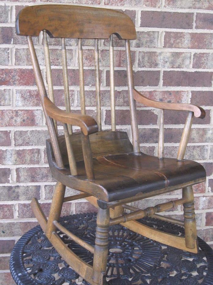True Antique Child's Rocking Chair Handmade Square Headed Nails Dolls Sturdy