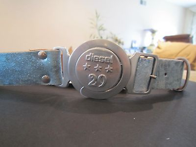 New!!! Authentic!!! Diesel Girls Leather Metallic Blue Belt Size 53/21