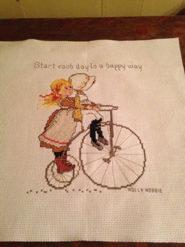 Vintage HOLLY HOBBIE Start Each Day In A Happy Way Completed Cross Stitch