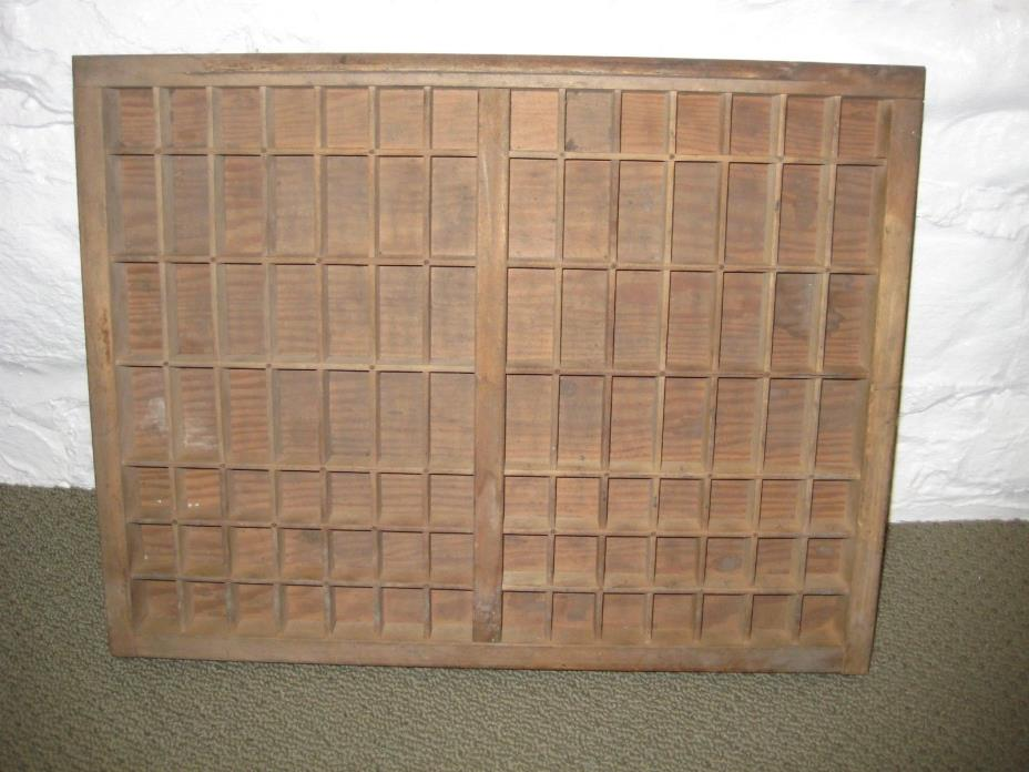 Antique Vintage Wood Printing Block Letterpress Drawer Shadow Box Tray