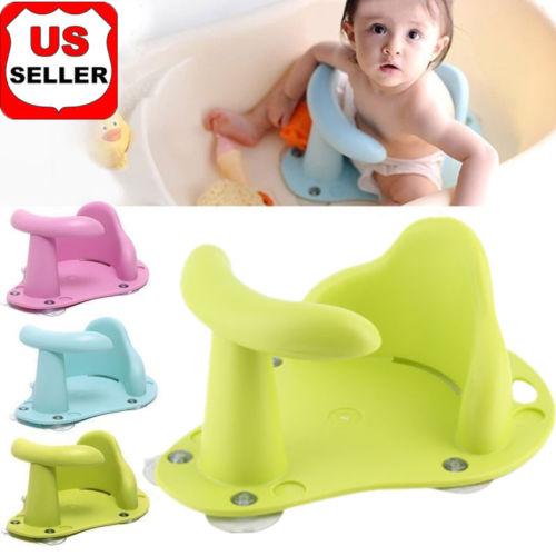 Kids Anti Slip Safety Chair Baby Bath Tub Ring Seat Infant Child Toddler+cap US