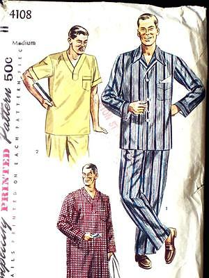 FAB VTG 40s MENs ALL YEAR PAJAMAS PJs SLEEP SHIRT Sewing Pattrn 4108 SM 34