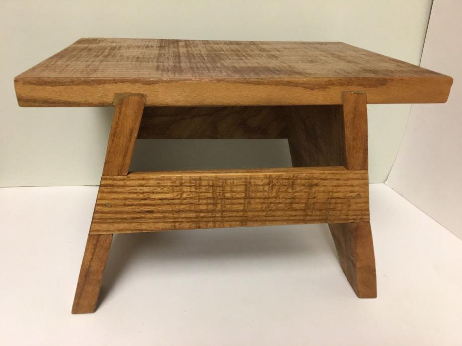 Solid Oak Handcrafted Step Stool Bench Wooden Handmade 16