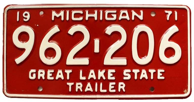 Vintage Michigan 1971 Trailer License Plate for Airstream Shasta Kenskill Scotty