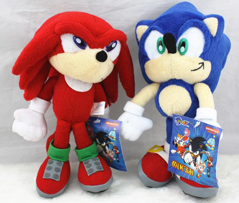 2pcs Sonic The Hedgehog Sonic Knuckles Tails Plush Doll Figure Toy Gift 8 inch