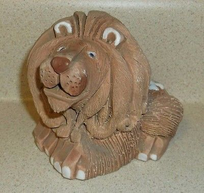 Vintage Lion clay Artesania Rinconada hand made carved Uruguay