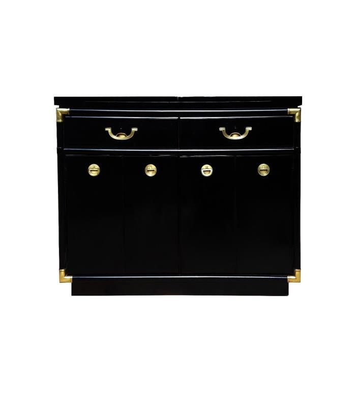Black lacquer and brass hardware Drexel Heritage Bar Cabinet/Buffet server