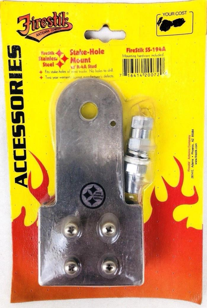 FirStik Extended Stake Hole CB Radio Antenna Mount K-4A Stud SS-194A Truck Bed
