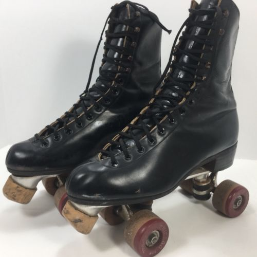 Men's Vintage Riedell Chicago Black Rollerskates (Size 9) Fo-Mac Wheels