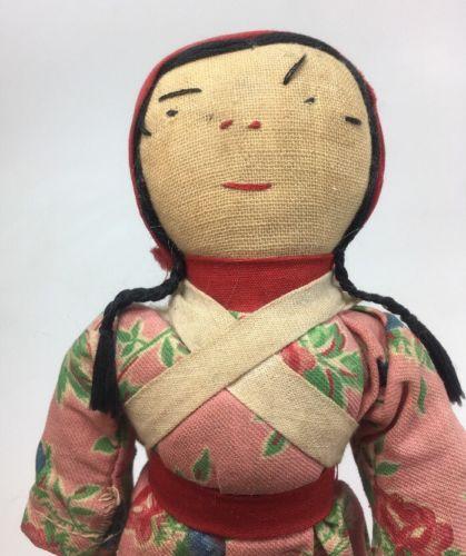 Vintage Antique Japanese Oriental Asian Cloth Rag Doll Girl Braids