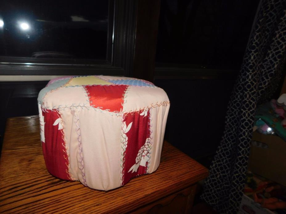 Crazy Quilt Small Step Stool Handmade Vintage