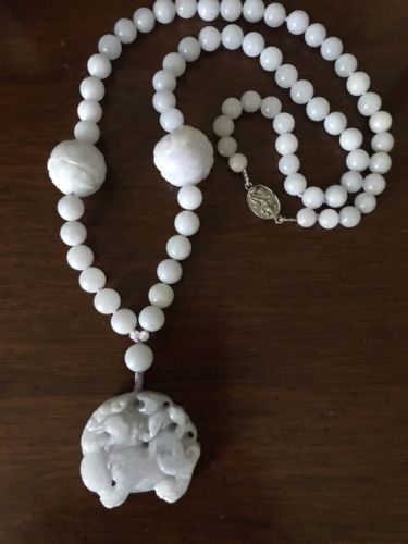 Antique Burmese Lavender Jade  Carved Fo-Lion  Necklace