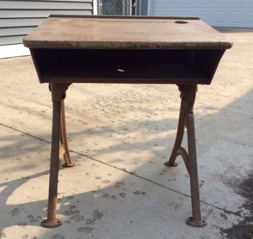 Vtg ASC Metal Childs School Desk