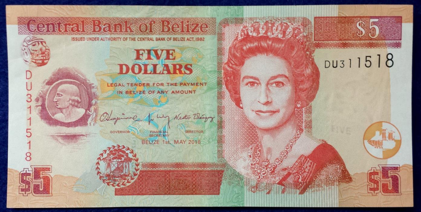 ***Belize 5 Dollars Mint Circulated Queen Elizabeth II Banknote Paper Money***