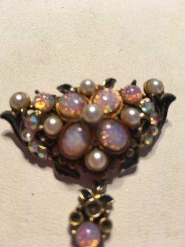 Estate 14 K GoldTested 7 Opals 7 Pearls Aurelis Borelis And Black Enamel Brooch.