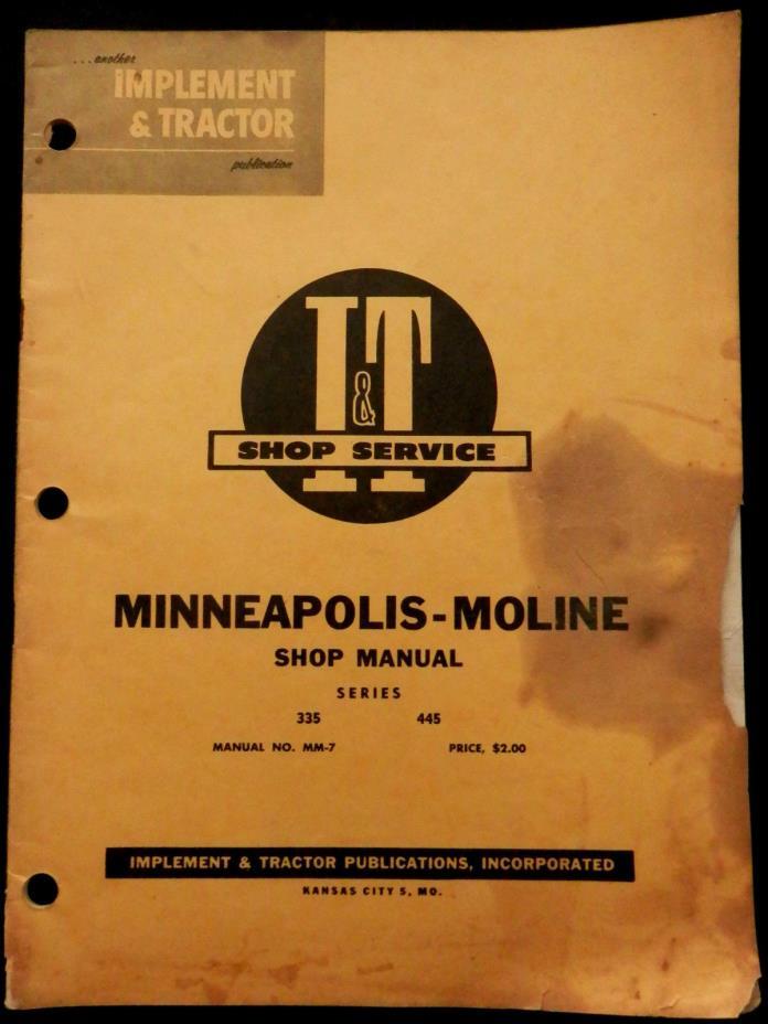 MINNEAPOLIS-MOLINE Shop Manual IMPLEMENT & TRACTOR Shop Service (1958)