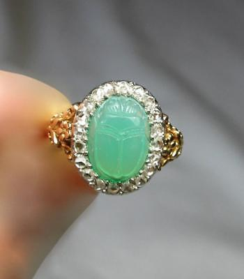 Chrysoprase Scarab Rose Cut Diamond Ring Art Deco Egyptian Revival Masterpiece