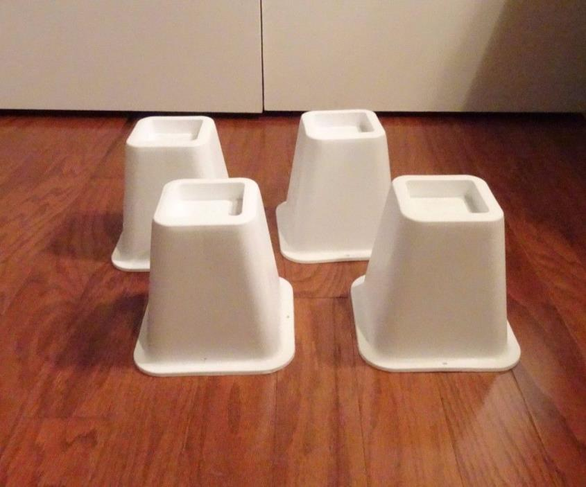 Bed Risers 4 Count White Durable Molded Plastic Home Dorm Room Underbed Storage