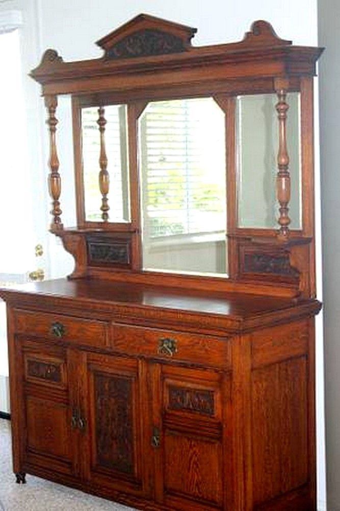 Beautiful Antique English Tiger Oak Carved Buffet Sideboard c.1890
