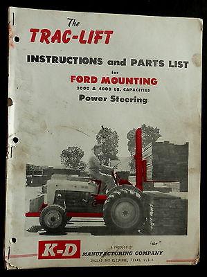 K-D Mfg Co TRAC-LIFT Instructions & Parts List FORD Mounting 2000-4000lb cap