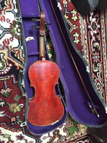 Old German 1716 Strad copy  4/4 Violin, For Repair Or Parts.  Ebony board.