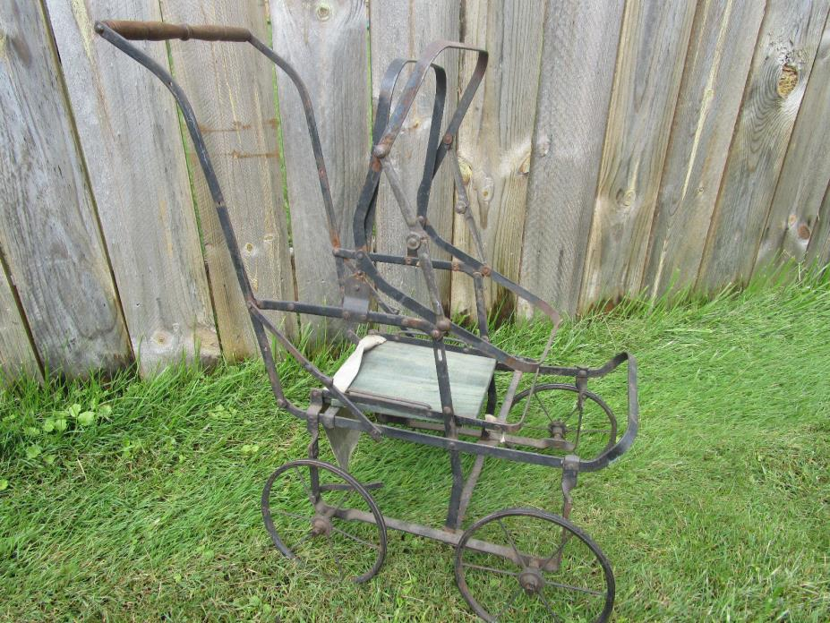 Vtg Antique Victorian Doll Carriage Buggy Stroller METAL FRAME ONLY