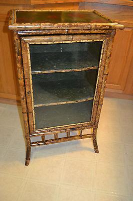 Antique Victorian Glass Bamboo Cupboard Bar Shelf Curio Display Cabinet Showcase