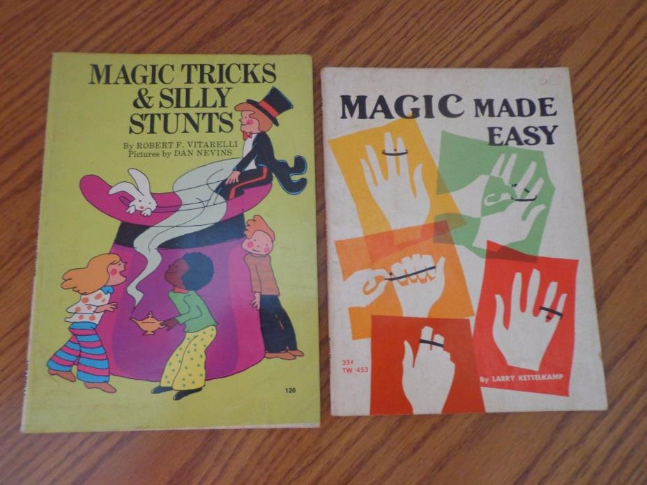 Lot of 2 Vintage Magic Books - MAGIC MADE EASY ~ MAGIC TRICKS & SILLY STUNTS