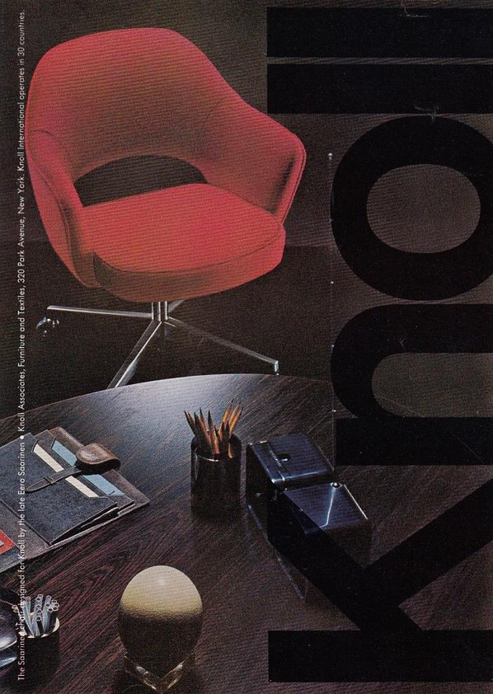 1969 Eero Saarinen red Swivel Chair photo Knoll Furniture vintage promo print ad