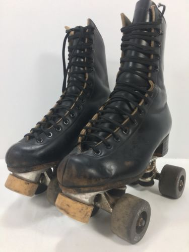 Men's Vintage Riedell Chicago Black Rollerskates (Size 4) Phantom Wheels