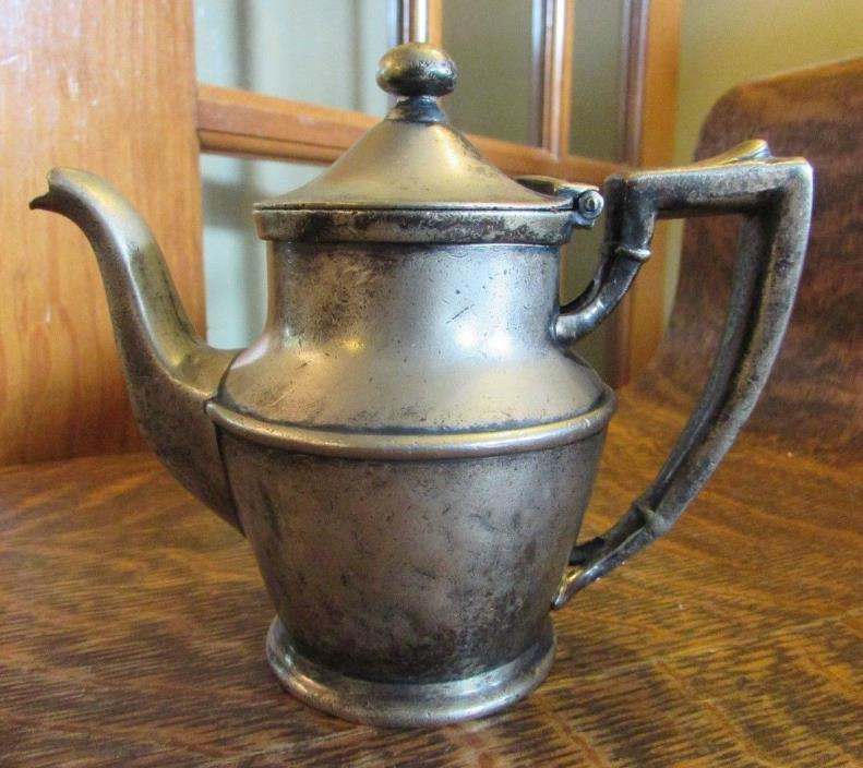 ANTIQUE SILVER SOLDERED HOTEL INDIVIDUAL GOOSENECK TEAPOT, INTERNATIONAL SILVER