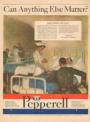1942 vintage AD PEPPERELL Fabrics, ART Sheets for Military Hospitals 103017