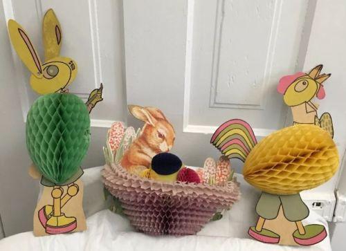 3 Large Vintage Easter Die Cut Honeycomb Figures..Bunny/Rooster/Basket Bunny