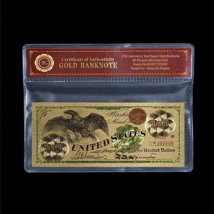 WR Gold  1863 $100 Bill US Banknote Eagle Dollar In PVC Sleeve wr