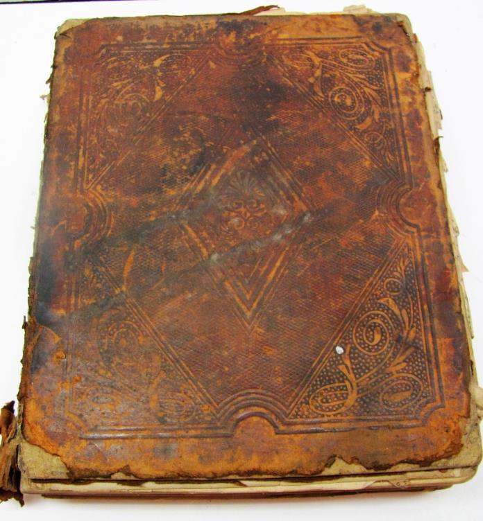 ????Vintage BIBLE English Language Antique 1852 Leather Binding Buffalo Phinney