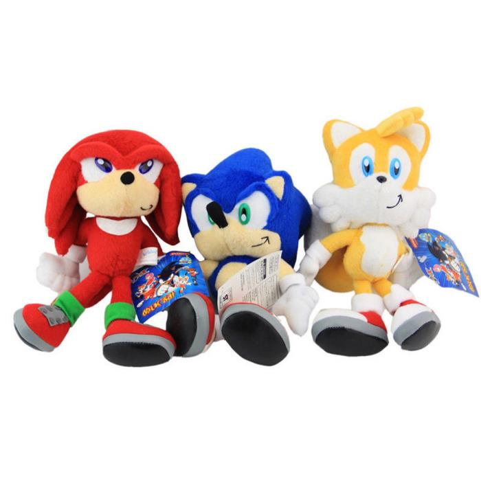 3pcs Sonic The Hedgehog Plushie Sonic Knuckles Tails Stuffed Plush Doll Toy Gift