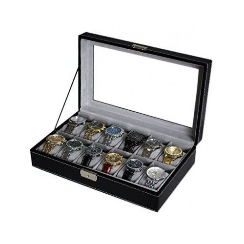 Watch Box 12 Mens Black Large Leather Display Glass Top Jewelry Case Organizer